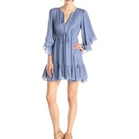 BCBGMax Azria Women's Emileigh Faded Blue Angel Sleeve Tunic Dress