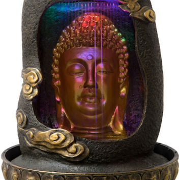 Buddha Head in Cave with Light - Fountain