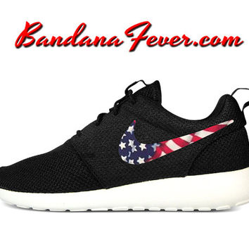 "Nike ""Tossed American Flag"" Roshe Run Men's Black/Sail Swoosh by Bandana Fever"