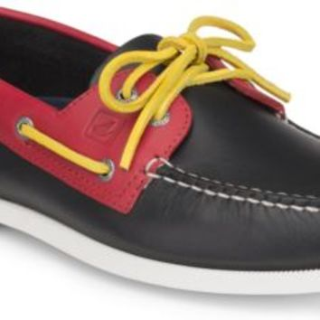 Sperry Top-Sider Authentic Original Flag Day 2-Eye Boat Shoe Black/RedLeather, Size 7.5M  Men's Shoes