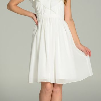 Chiffon Dress Ivory Knee Length V Neck Short Sleeves A Line