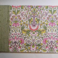 "Wedding Guest Book - Liberty Print ""Lodden"" Green & Pink Floral - 8"" X 5.5"" 