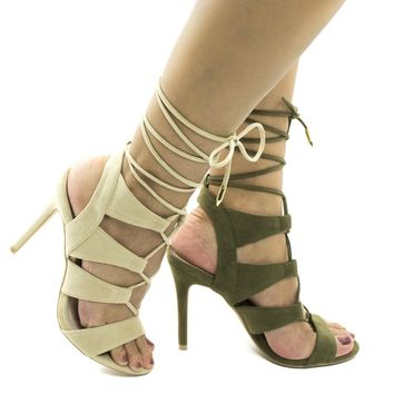 Giovanni Nude By Shoe Republic, Open Toe Caged Leg Wrap Stiletto Heel Sandals