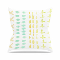 """Jennifer Rizzo  """"Dots And Dashes"""" Teal Yellow Outdoor Throw Pillow"""