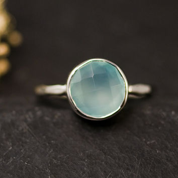 Aqua Blue Chalcedony Ring - Silver Gemstone Ring - Bezel Set Ring - Mother's Day Gift