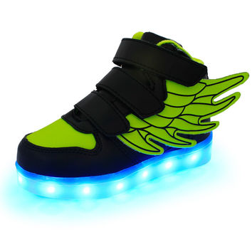 2017 New Kids USB Charging LED Light Shoes Soft Leather Casual Boy&Girl Luminous Antiskid Bottom Children Wings Party Sneakers