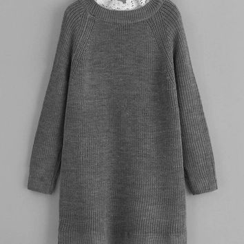 Floral Lace Insert Eyelet Sweater Dress