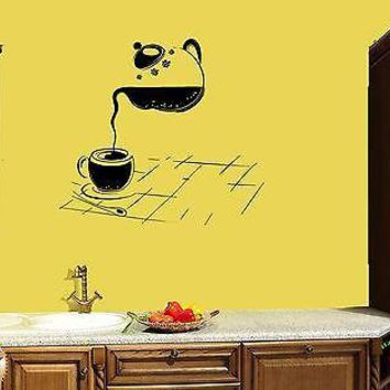 Wall Sticker For Kitchen Cup Of Tea Cup of Coffee Modern Decor Unique Gift z1411