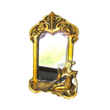 Art Nouveau Style Peacock and Lady Wall Mirror / Home Decor