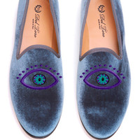 Prince Albert Grey Velvet  Slipper Loafers With Evil Eye Embroidery by Del Toro for Preorder on Moda Operandi