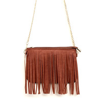 Fringing Around Crossbody Bag in Cognac