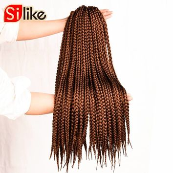 "Silike 12"" 18"" 22"" Crochet Box Braids Synthetic Hair 12 Roots Pure Colors Crochet Braiding Hair Extensions 90-100 g 1 pack/lot"