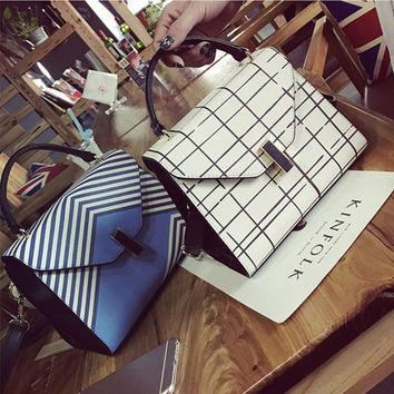 Fashion OL Multicolor Grid Stripe Handbag Single Shoulder Bag Messenger Bag