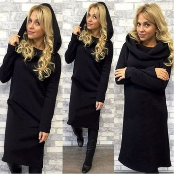 2017 Autumn Winter Sweater Dress Women Long Sleeve Bandage Dress Loose Long Hoodie Dress Casual Party Dresses Plus Size Vestidos