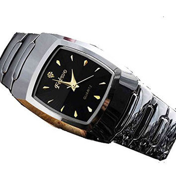Feiwo Silver Metal Watch / Black Rectangular Face w/ Gold and Crystal