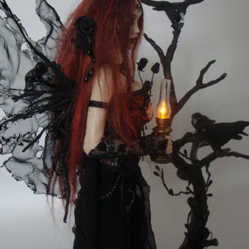 SHADOWSCULPT ooak fairy art doll goth lamp nightlight vampire fantasy polymer clay sculpture figure light up