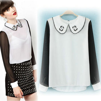 Casual Black And White Beaded Peter Pan Collar Chiffon Blouse