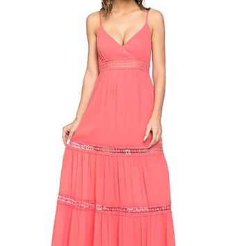 Womens Crochet Full Length Maxi Dress with Open Back