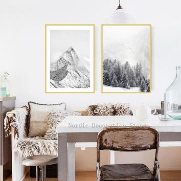 Black And White Nordic Ice Snow Mountain Abstract Forest Landscape Canvas Posters And Prints Wall Art Canvas Painting Unframed