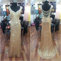 gold Prom Dress,long Prom Dress,charming Prom Dress,sparkle prom dress,evening dress,PD116