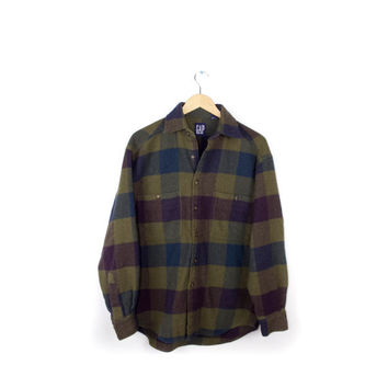 Gap Wool Flannel Shirt / Plum purple Pea Green / 1990s 90s Grunge plaid / Mens Medium