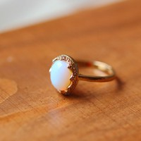 tiny opal stone ring simple jewelry in golden Romantic gift [R265A] : The water for design jewelry