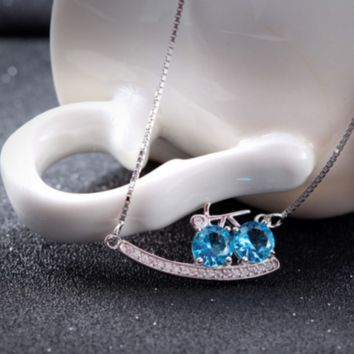 Blue Cubic Zirconia Bicycle Necklace - 925 Sterling Silver