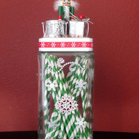 Christmas Nutcracker Snowflakes Gift Candy Jar Centerpiece.Nutcracker Apothecary.Hostess Gift.Christmas Birthday.White Elephant.Home Décor.