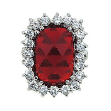 Big Fancy Special Angled Cut Imitation Ruby and Cubic Zirconia Cocktail Ring