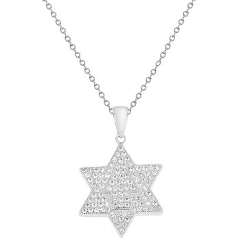 Rhodium Plated Star of David Hamsa Hand Pendant Necklace Pave Clear CZ 19""