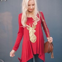 Ring the Bell Sequin Reindeer Tunic
