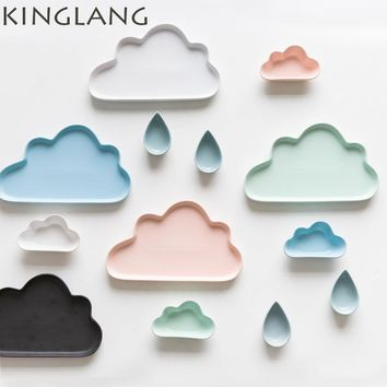 1pc Creative ceramic tableware set  cartoon clouds shape matte dinner plate raindrop dessert dish