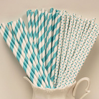 Paper Straws, 25 Tiffany Blue Party Mix Paper Straws, Tiffany Blue Party, Blue Paper Straws, Wedding Drink Straws, Retro Straws, Birthday