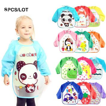 8pcs Baby Bibs Burp Children Cartoon Drawing Eating Feeding cloths Waterproof
