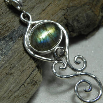 NECKLACE  Labradorite Sterling Silver Spiral by FantaSeaJewelry