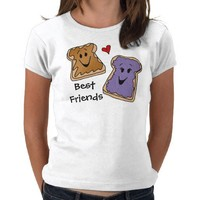 Best Friends, Peanut Butter Jelly Cartoon T-Shirt from Zazzle.com