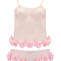 Sakura - Sheer Pink Tulle With Petal Trim