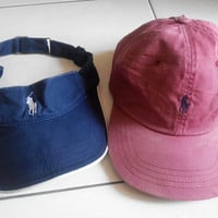 Pair Of Vintage Polo By Ralph Lauren Hat Caps and Polo Golf by Ralph Lauren Sun Visor , Polo Caps