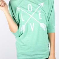 Arrows of Love Mint Dolman Sleeve Shirt