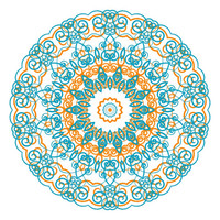 Teal and coral kaleidoscope print with geometric shapes, home decor wall art, dorm decor poster, mandala geometrical poster, aqua and coral