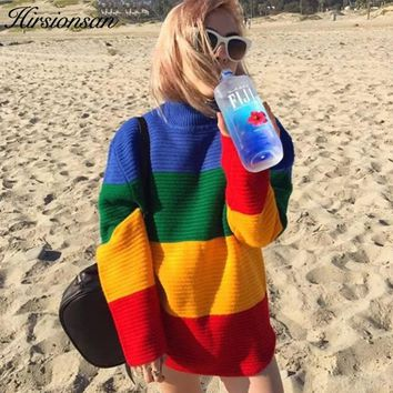 Patchwork Rainbow Sweater O Neck Loose