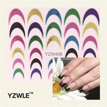 YZWLE 1 Sheet Multicolor Nail Art Sticker Nail Art French Tips Guides Sticker DIY Stencil Manicure Tools