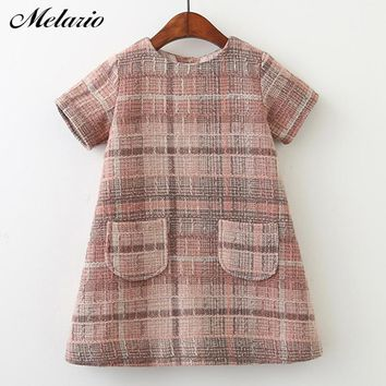 Melario Girls Dress 2018 New Brand Girls Clothes European And America Style Kids Clothes Plaid Pocket Design Baby Girls Dress