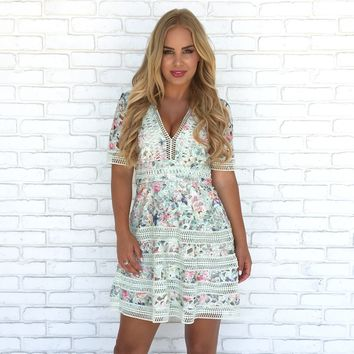 Set The Date Floral Crochet Dress