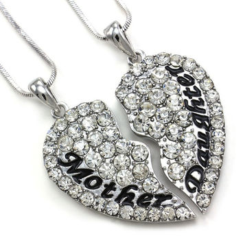 "Eloi Jewelry Mother and Daughter Necklace Best Friend Pendant Necklace Gift (Size: 1.5"" * 1.5"", Color: White) = 1946173892"