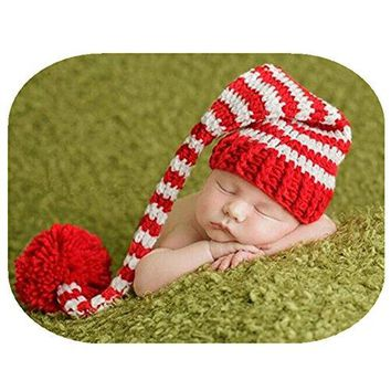A Coberllus Baby Christmas Newborn Boy Girl Outfits Crochet Knit Long Striped Hat Photography Props