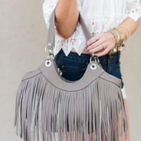 Western Fringed Leather Handbag in Taupe