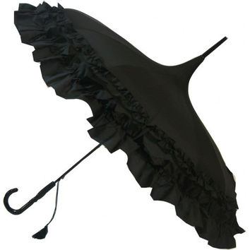 Double Frill Black Pagoda Umbrella