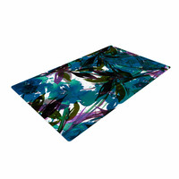 "Ebi Emporium ""Floral Fiesta Teal"" Watercolor Pattern Woven Area Rug"