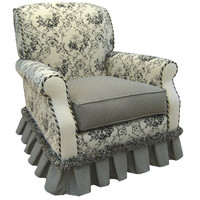 Angel Song 201021127Down Toile Black Adult Club Glider Rocker w/ Plush Down Cushion